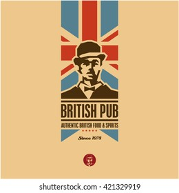 british food, british pub label, beer, gentleman