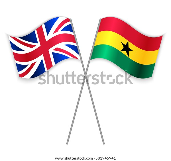 British and Ghanaian crossed flags. United Kingdom combined with Ghana isolated on white. Language learning, international business or travel concept.