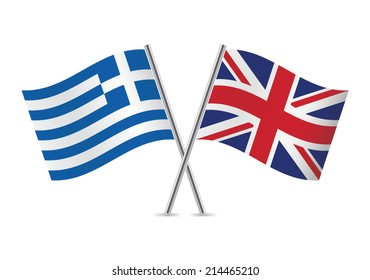 British and Greek flags. Vector illustration.