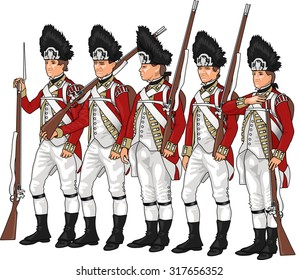 British Grenadiers from American Revolutionary War Standing with Firearms, Illustration Isolated on Transparent Background, EPS 10 Vector