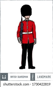 英国の衛兵のベクターイラスト – 手描きの