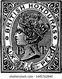 British Honduras Six Pence Stamp in 1888, vintage illustration.