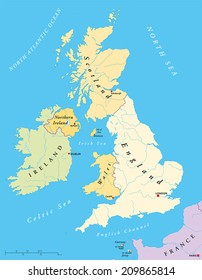 British Isles Map with capitals, national borders, rivers and lakes. Illustration with English labeling and scaling.