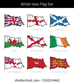 British Isles Waving Flag Set. The set includes the flags of UK, England, Scotland, Wales, Northern Ireland, Republic of Ireland, the British Navy, Isle of Mann and the Royal Banner. Vector Icons