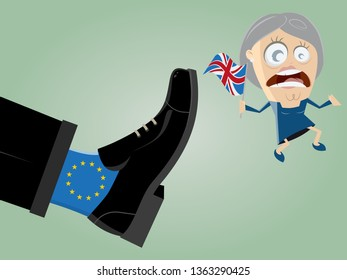 british leader is getting kicked out of mighty EU foot