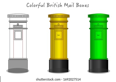 British, London colorful postbox, mailbox. Green, yellow mail box design. Black white, technic draw sketch and colored cylinder mailbox. England, UK classic culture objects. Futuristic art draw Vector