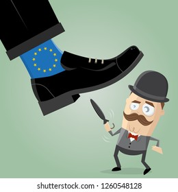 british man fighting against overpowering eu brexit illustration