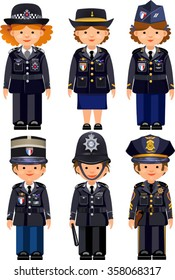 British metropolitan police officers and France Paris police officers and USA New York  police officers . Traditional authentic helmet