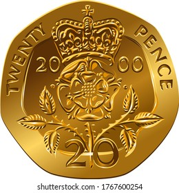 British money gold coin Reverse twenty pences with the image of Crowned rose flower, Rosa Tudor - the emblem of England