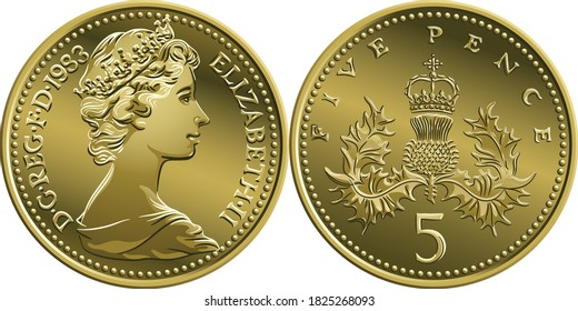 British money silver coin Five pee or Five pence, obverse and reverse with Badge of Scotland, thistle royally crowned