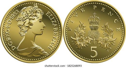 Britisches Geld Silbermünze Fünf Pence oder fünf Pence, obverse und umgekehrt mit Badge of Scotland, thistle königlich gekrönt