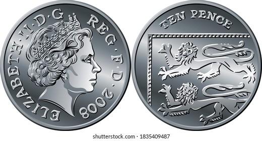 Britisches Geld Silbermünze Zehn Pence oder zehn Pence, umgekehrt mit Segment Royal Shield, Königin auf obverse