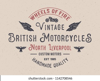 British Motorcycles typography. Textured vintage vector t-shirt and apparel design, print, logo, poster. Vector