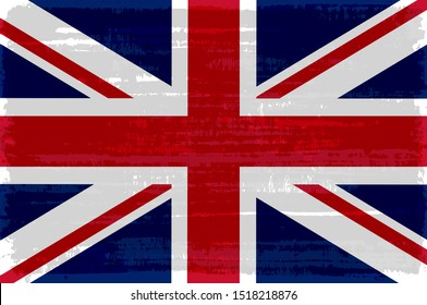 British national flag isolated vector illustration. Travel map design graphic element. World county symbol. British red blue white flag icon with grunge texture. Flat flag of United Kingdom.
