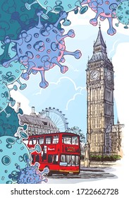 British national quarantine background. London Iconic view with Big Ben and doubledecker bus with coronavirus particles. Painted sketch isolated on white background. EPS10 vector illustration