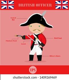 British officer soldier cute cartoon vector illustration, Napoleonic war army.