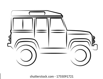 A British off-road vehicle as a hand drawing