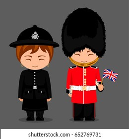 British people. Police woman and royal guard with a flag. Man and woman in traditional costume. Travel to United Kingdom. Vector flat illustration.