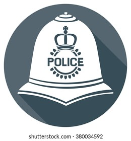 british police helmet flat icon (bobby cap sign)