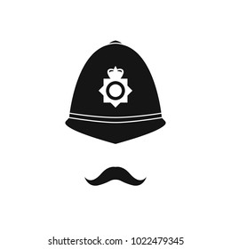 British policeman in helmet. Police avatar. Vector illustration.
