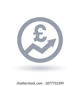 British pound arrow icon. Great Britain currency progress symbol. UK economic success sign in circle outline. Vector illustration.