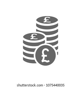 British pound coin stack icon. Coins stacks icon, pile of british pounds coins.