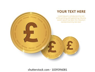 British Pound Gold coin Stack. Financial growth concept with golden coin Pound.