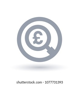 British Pound magnifying glass symbol. Britain currency search icon. Economics sign in circle outline. Vector illustration.