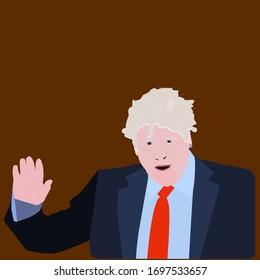 British Prime Minister Boris Johnson London, UK - 05 Nov 2019: Politician in a suit vector illustration