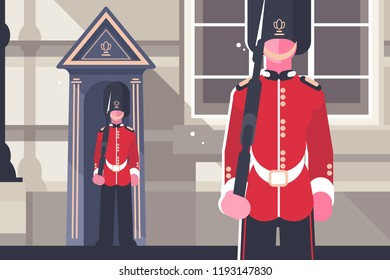 British royal guardsman queens soldier character concept. Guardian of Buckingham Palace. Welcome to London. Flat. Vector illustration.