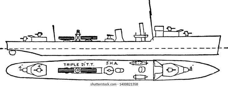 British Royal Navy Destroyers and Flotilla Leaders Battleship gradually increased in size and power and war requirements continually added to the weights, vintage line drawing or engraving