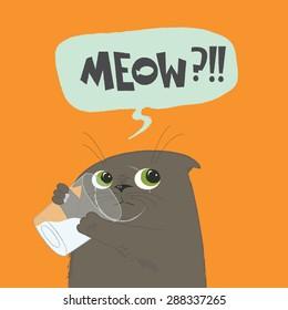 british shorthair cat is stealing milk on the orange background