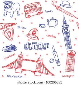 British symbols and icons seamless pattern
