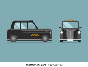 British Taxi car in flat style. Vector illustration