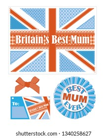 British themed greeting card, tag and rosette