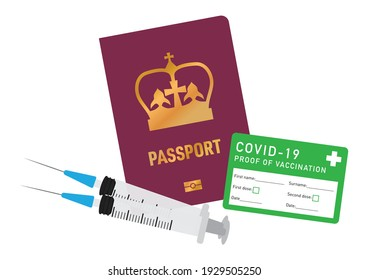 British vaccine passport vector illustration with covid-19 proof of vaccination card and injection needles vector illustration