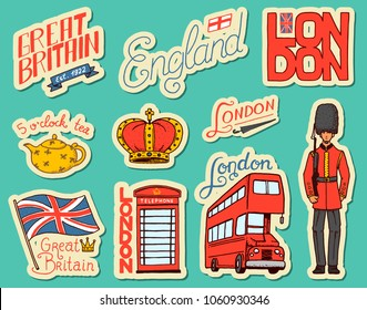 British vintage stickers, Crown and Queen, teapot with tea, bus and royal guard, London. Badges, stamps, emblems. United Kingdom. Country England label. 80s-90s Comic Style. Engraved hand drawn sketch
