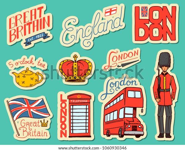 Image Vectorielle De Stock De Autocollants Britanniques