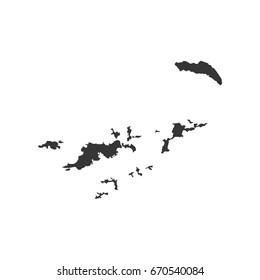British Virgin Islands map on the white background. Vector illustration