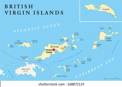 british virgin islands political map a british overseas territory located between the caribbean sea and