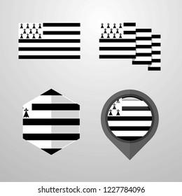 Brittany flag design set vector