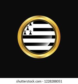 Brittany flag Golden button