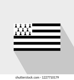 Brittany flag Long Shadow design vector