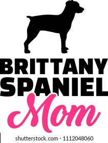 Brittany Spaniel mom silhouette with pink word