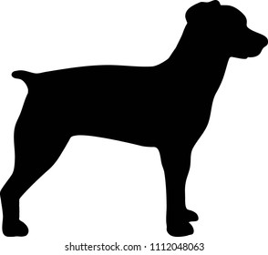 Brittany Spaniel silhouette real in black
