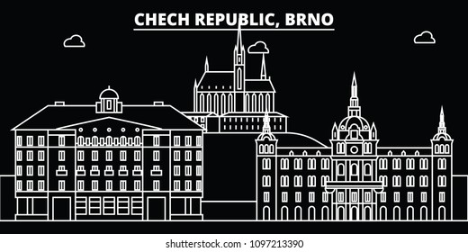 Brno silhouette skyline. Czech Republic - Brno vector city, czech linear architecture, buildings. Brno travel illustration, outline landmarks. Czech Republic flat icons, czech line banner