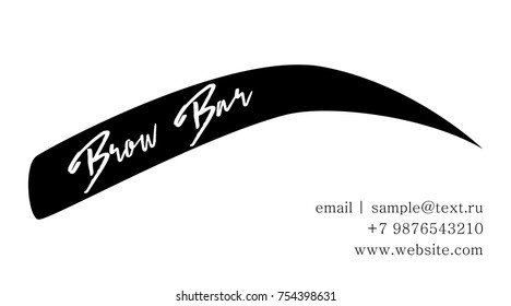 Bro Bar Business card template or logo design of the master on the eyebrows. The Brow Bar logo for beauty studio with hand drawing eyebrow, Female Eyebrow Vector Illustration Isolated