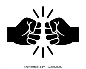 Bro fist bump or power five pound flat vector icon for apps and websites
