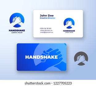Bro Handshake Abstract Vector Logo and Business Card Template. Friends, Partners or Brothers Hand Shake Incorporated in a Circle Concept with Modern Typography. Stationary Realistic Mock Up. Isolated.