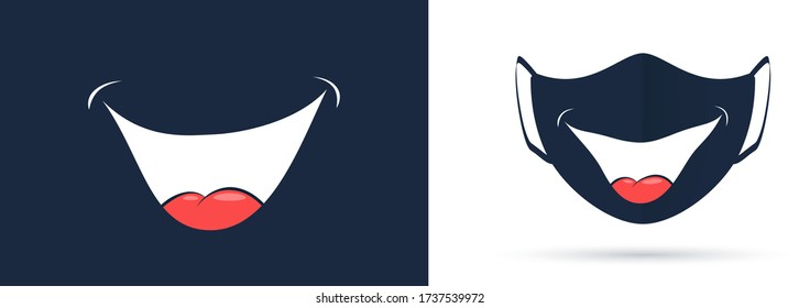 Broad smile print design for kids medical, face mask. Smile template for virus protective mask. Mouth with tongue drawing. Vector illustration
